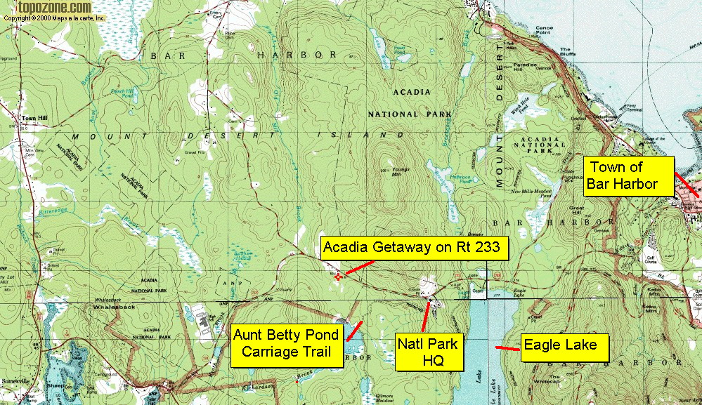 The Surroundings Acadia Getaway Vacation Rentals Bar Harbor Maine - Acadia national park on the map of the us